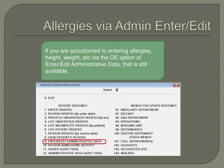Allergies via Admin Enter/Edit