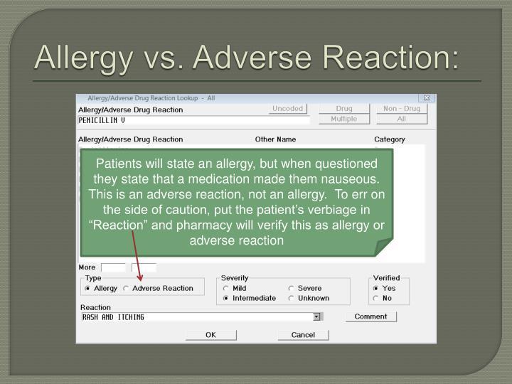 Allergy vs. Adverse Reaction: