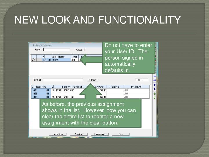 NEW LOOK AND FUNCTIONALITY