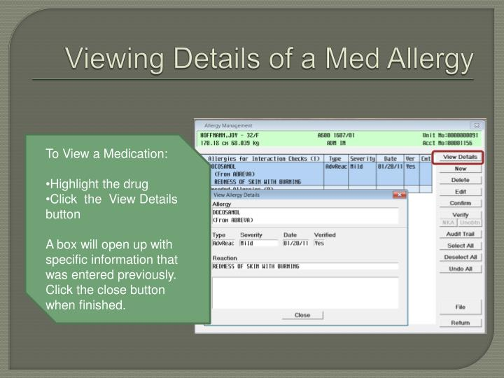 Viewing Details of a Med Allergy