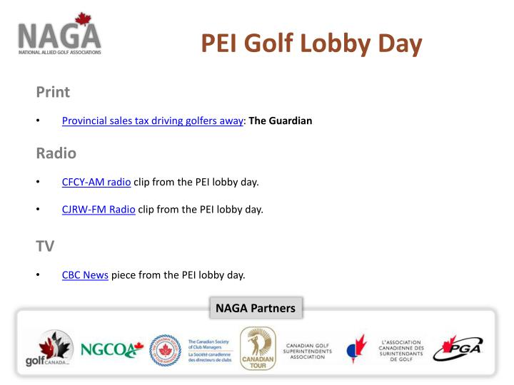 PEI Golf Lobby Day
