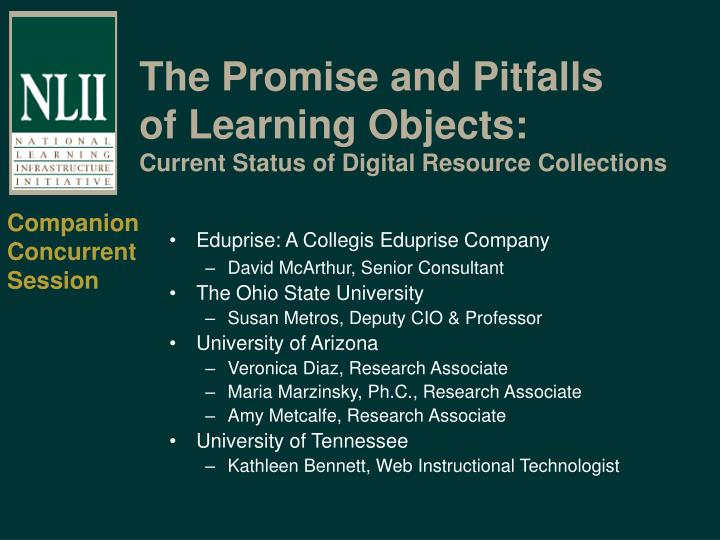 The promise and pitfalls of learning objects current status of digital resource collections