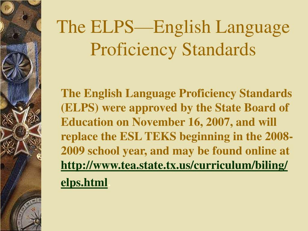 the elps english language proficiency standards l.
