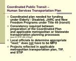 coordinated public transit human services transportation plan