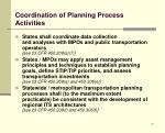 coordination of planning process activities