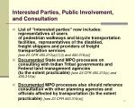 interested parties public involvement and consultation