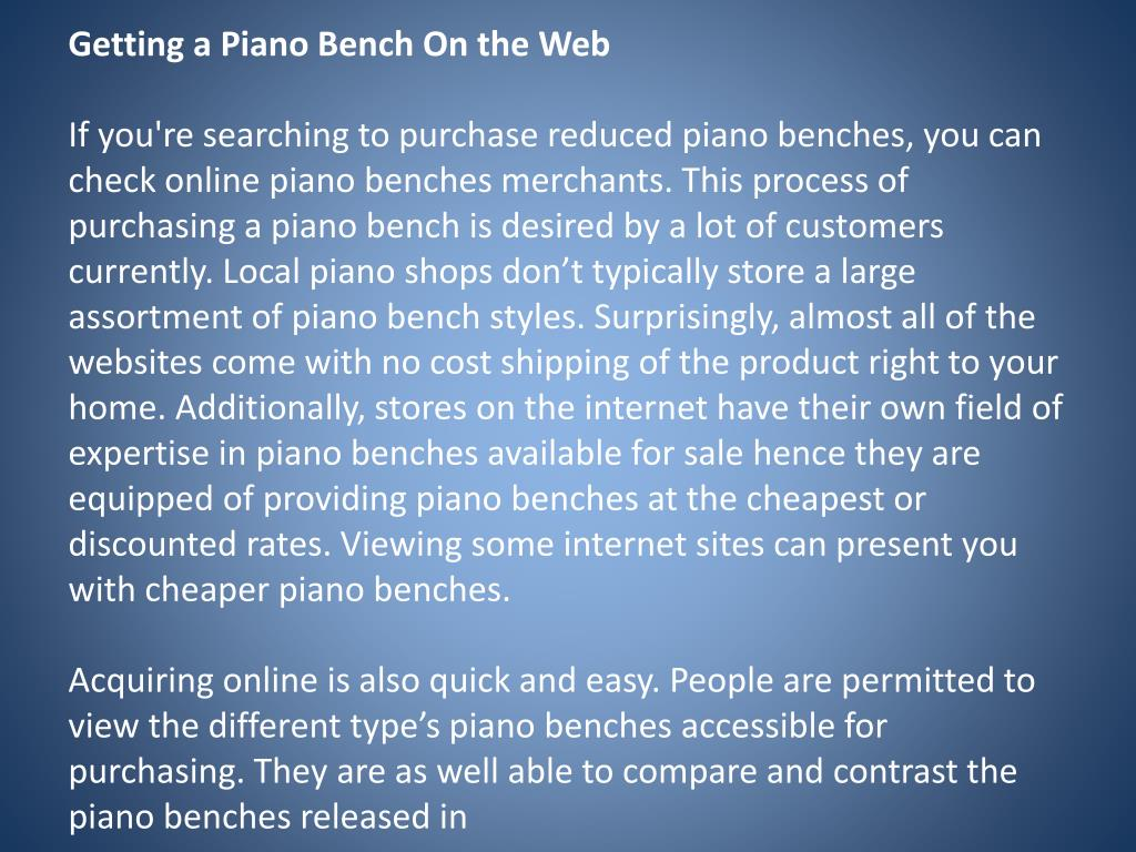 Getting a Piano Bench On the Web