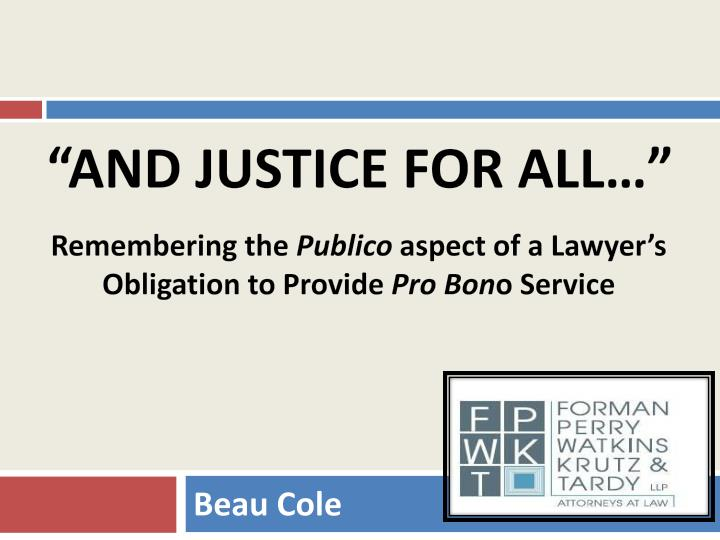 and justice for all n.