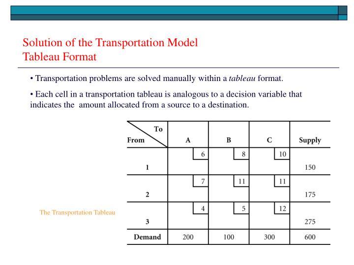 Solution of the Transportation Model