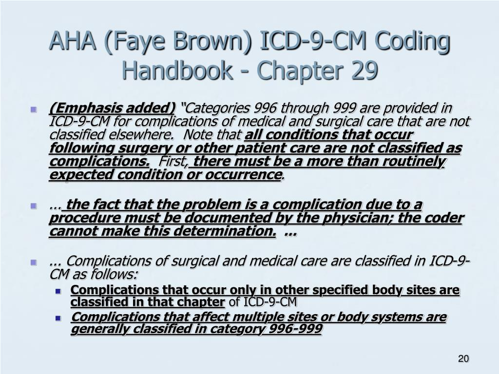 AHA (Faye Brown) ICD-9-CM Coding Handbook - Chapter 29