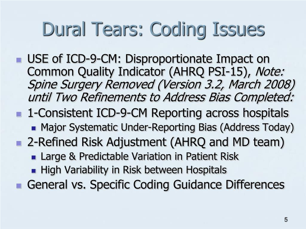 Dural Tears: Coding Issues