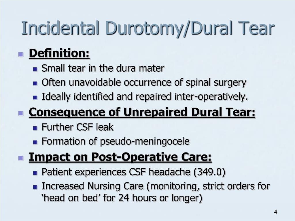 Incidental Durotomy/Dural Tear