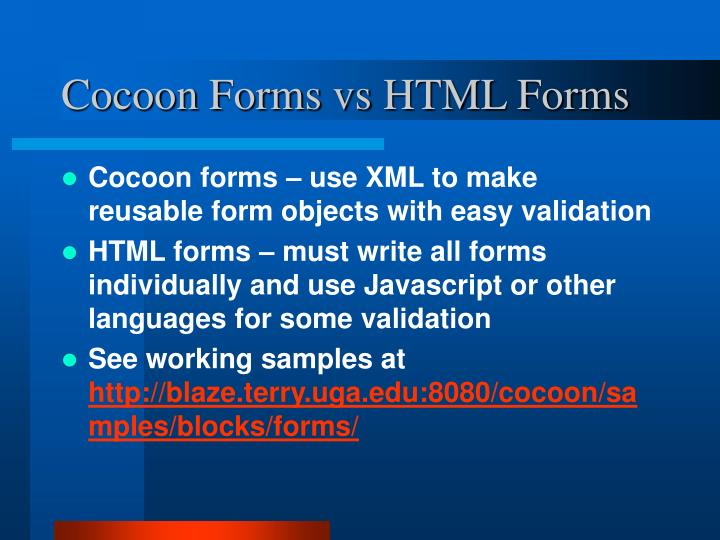 Cocoon forms vs html forms