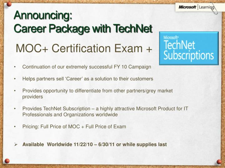 announcing career package with technet n.