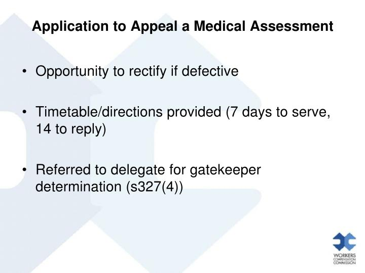 Application to Appeal a Medical Assessment