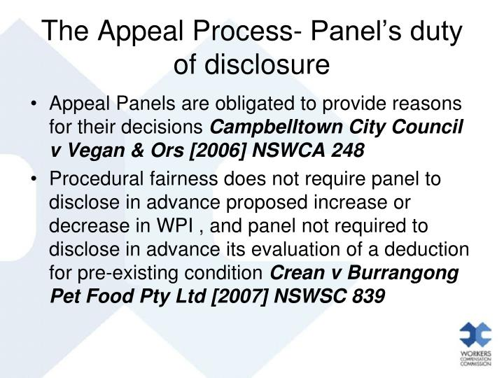 The Appeal Process- Panel's duty of disclosure