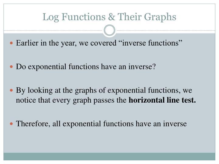 Log functions their graphs1