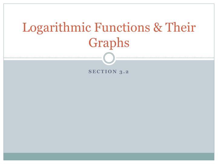 Logarithmic Functions & Their Graphs