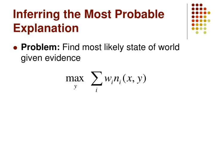 Inferring the Most Probable Explanation