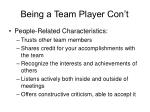 being a team player con t