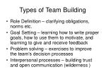 types of team building