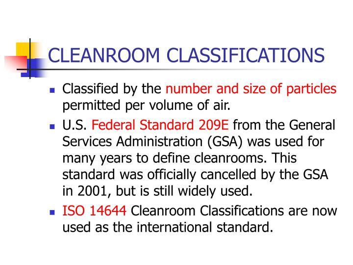 CLEANROOM CLASSIFICATIONS