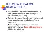 use and application nanoparticles