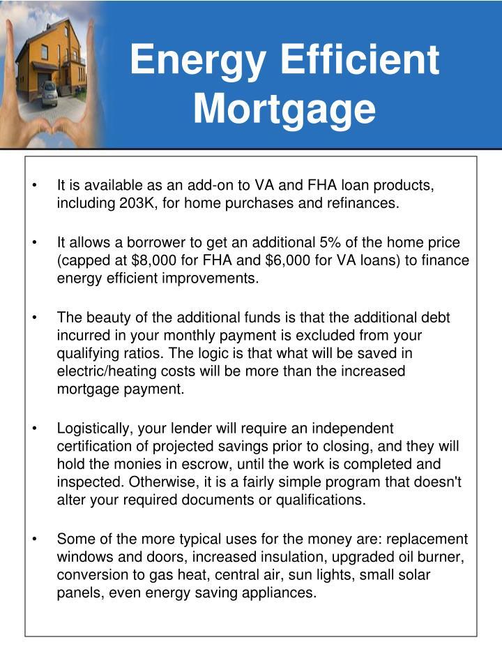 Energy efficient mortgage