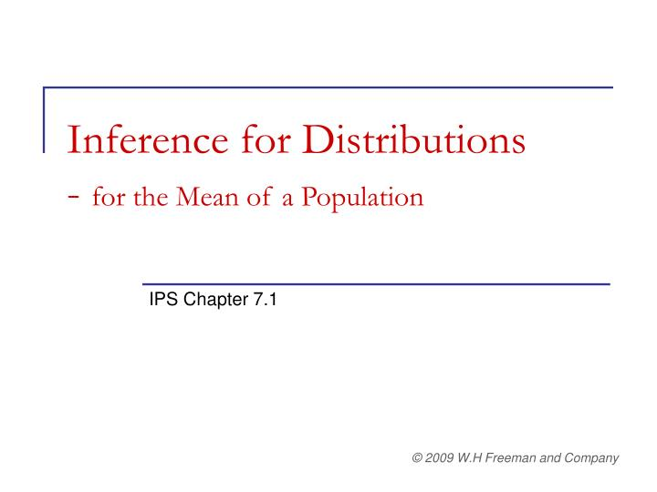 inference for distributions for the mean of a population n.