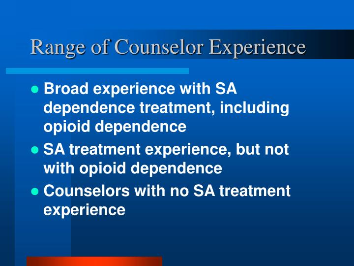 Range of Counselor Experience