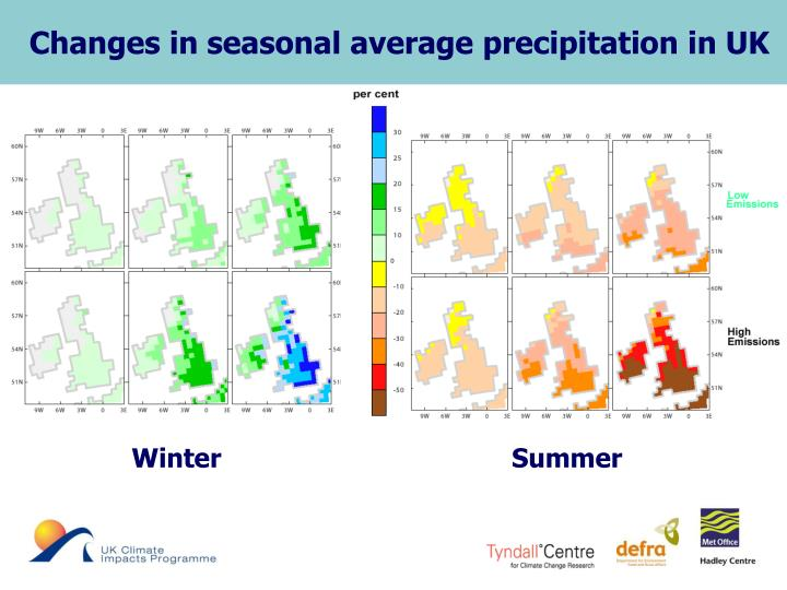 Changes in seasonal average precipitation in UK