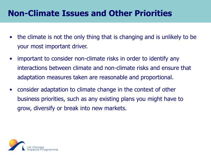 Non-Climate Issues and Other Priorities