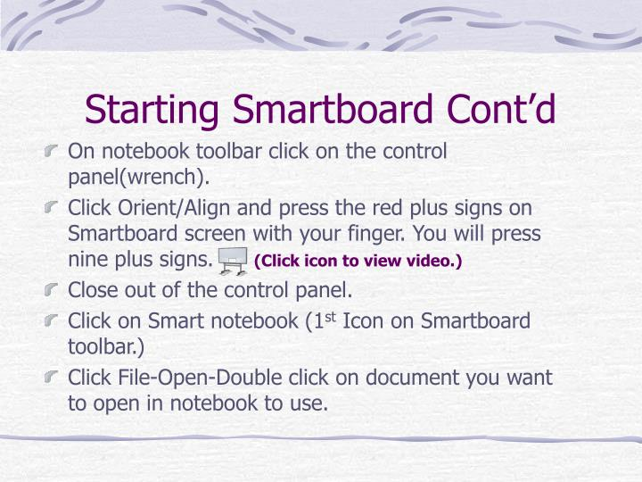 Starting Smartboard Cont'd