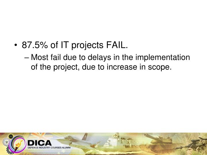 87.5% of IT projects FAIL.
