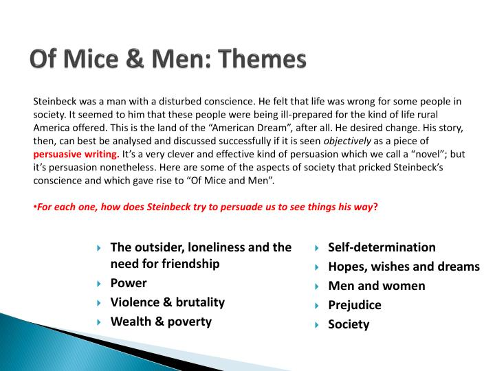 themes of isolation intertwined in of mice and men by john steinbeck Of mice and men by john steinbeck themes and  isolation justice  of print and digital reference materials as we research themes and symbols in of mice and men.
