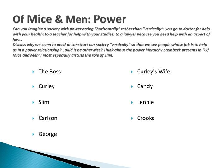 how does steinbeck present power in of mice and men Get an answer for 'how is power presented in chapter 4 in of mice and men' and find homework help for other of mice and men questions at enotes.