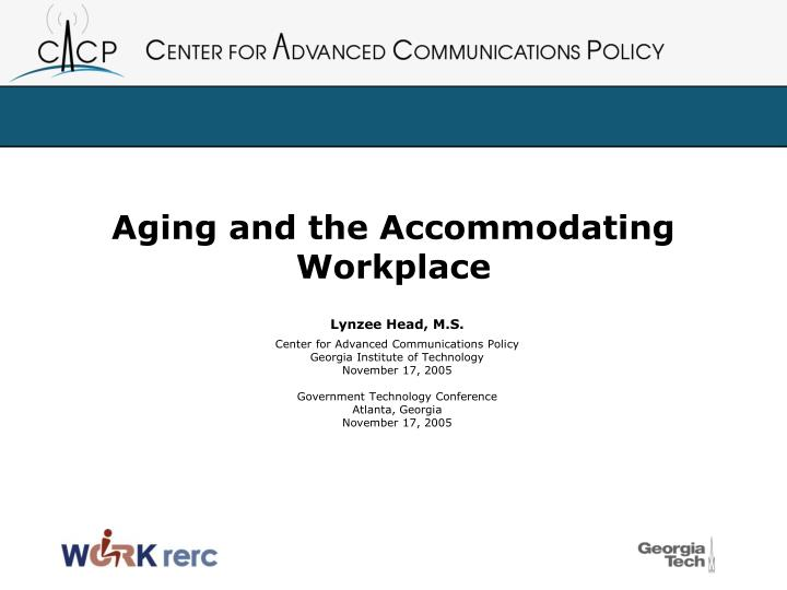 Aging and the accommodating workplace