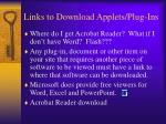 links to download applets plug ins