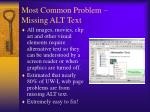 most common problem missing alt text