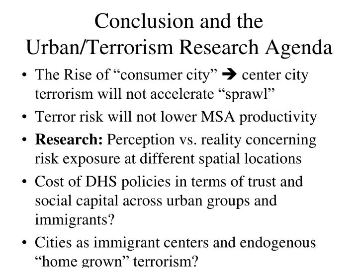 Conclusion and the Urban/Terrorism Research Agenda