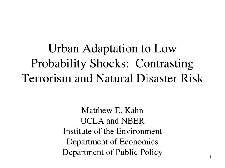 Urban adaptation to low probability shocks contrasting terrorism and natural disaster risk
