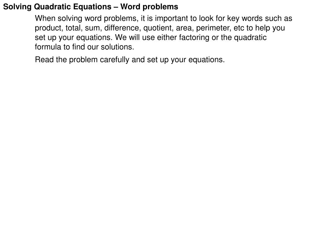 ppt - solving quadratic equations – word problems powerpoint