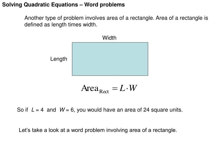 PPT - Solving Quadratic Equations – Word problems PowerPoint ...