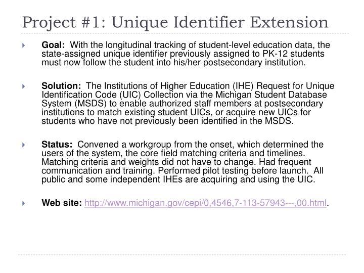 Project #1: Unique Identifier Extension