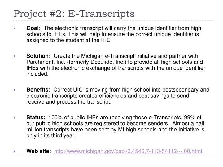 Project #2: E-Transcripts