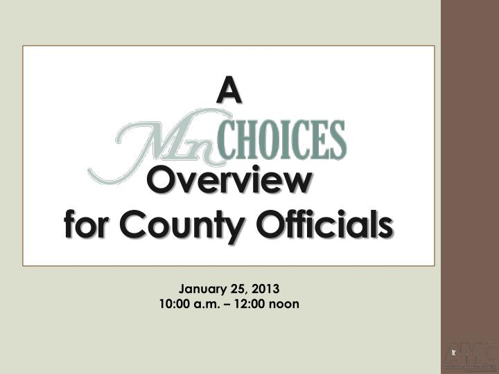 a overview for county officials n.