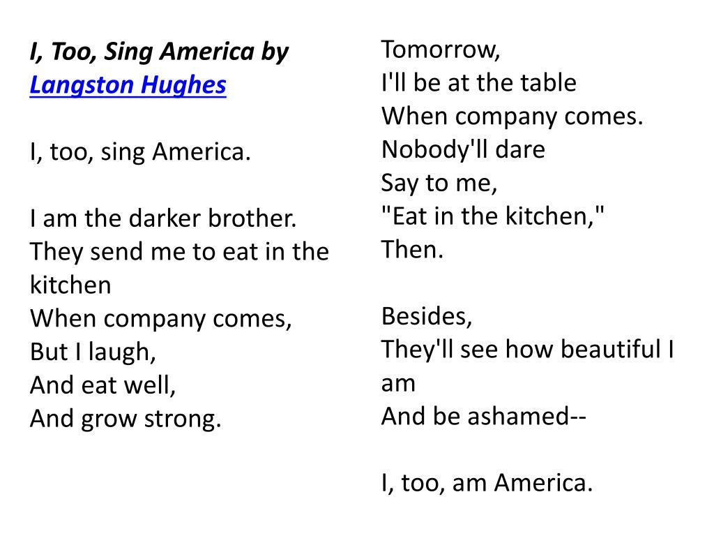 Itoo sing america by langston hughes essay