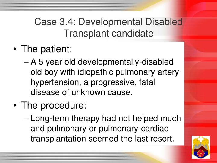 Case 3.4: Developmental Disabled Transplant candidate