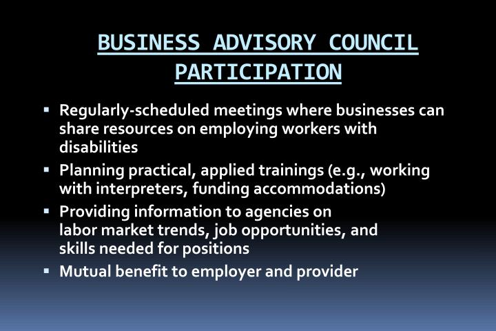 BUSINESS ADVISORY COUNCIL