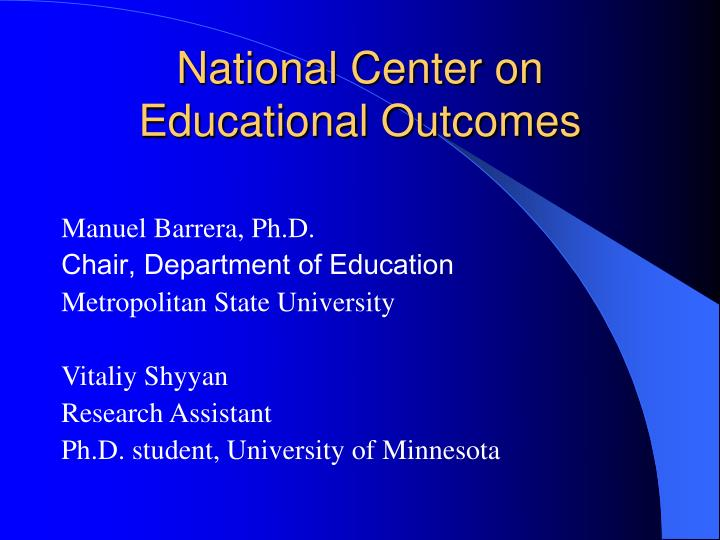 national center on educational outcomes